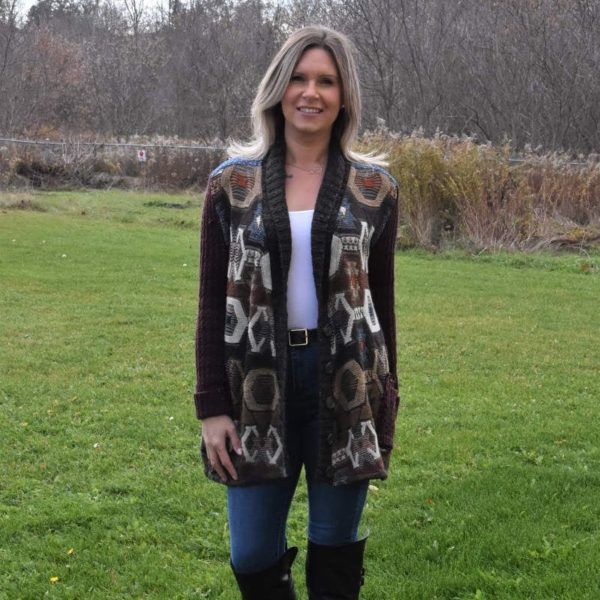 large patchy cardigan